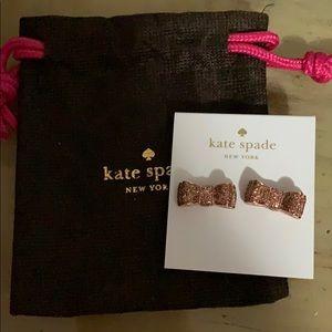 Kate Spade Rose Gold Glitter Bow Earrings